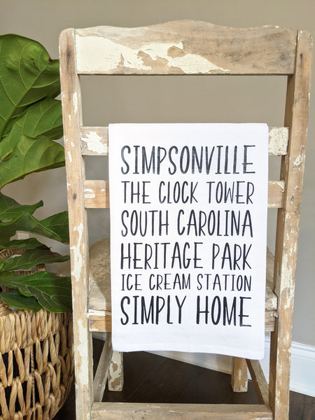 Simpsonville, South Carolina Tea Towel