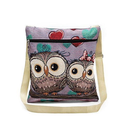 Owl Printed Canvas Crossbody Bag