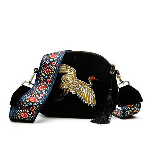 Crossbody Bag Crane Embroidery Design