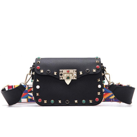 Color Rivet Design Women Crossbody Bag