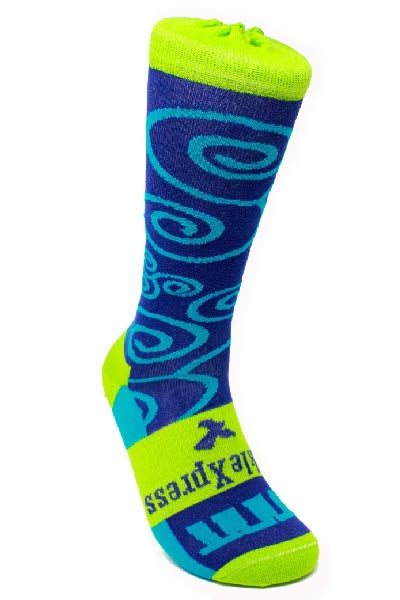 Blue and Green Mid-Calf Dress Socks