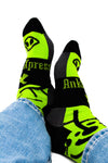 Neon Green and Black Men's Dress Socks Alien Pattern, Crazy Socks