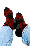Red and Black Men's Dress Socks Alien Pattern, Crazy Socks
