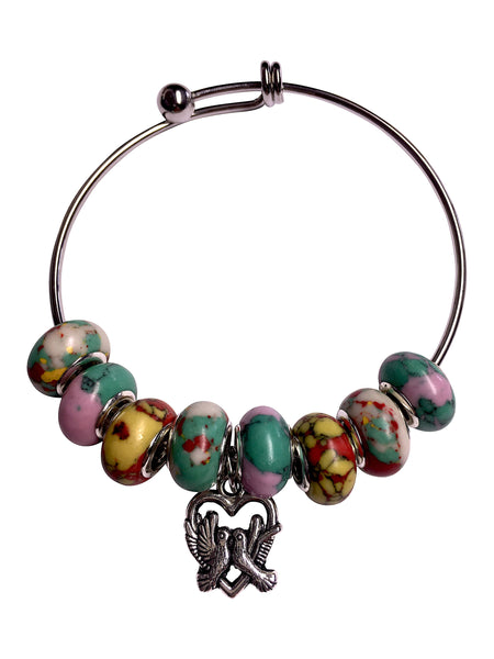 Loving Doves Bangle Bracelet in Pink, Aqua, Yellow, Red