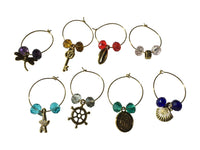 Lovely Wine Glass Charms Made with Cut Glass Beads- Set 8