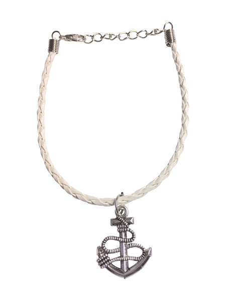 Anchors Away!  Anchor charm Bracelet on White Braided Leather