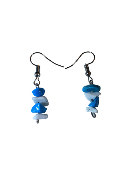 Cute, Summer Fun Pierced Earrings- 3cm long Blue & White Natural  GemStones