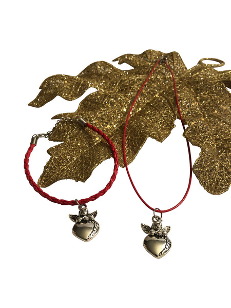 Cupid Heart Red Leather Braided Bracelet and Red Corded Necklace