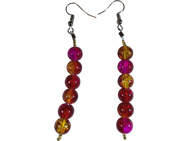 Dangling Glass Crackle Beaded Earrings- Pink, Red & Gold