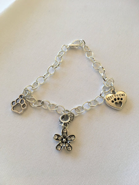 Dog Lovers Charm Bracelet Chain Link