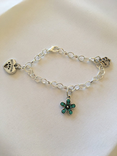 Chain Link Dog lover Charm Bracelet