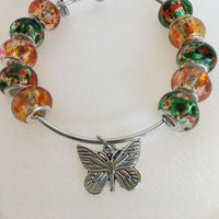 Butterfly Bangle Bracelet with Hand painted Glass Beads