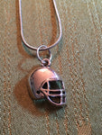Football Players Necklace With Silver Charm of Helmet on Silver Snake Chain