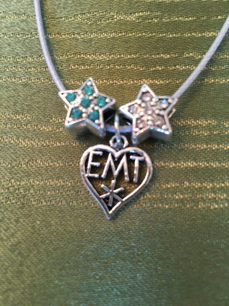 EMT Necklace on a Silver Colored Snake Chain With 2 Rhinestone Star Beads & EMT Charm