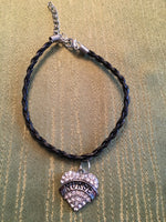 Nurses Black Leather Braided Bracelet with Silver Nurse Charm with Rhinestones