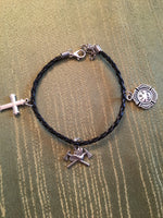 Firefighters Charm Bracelet on Black Braided Leather Bracelet Unisex