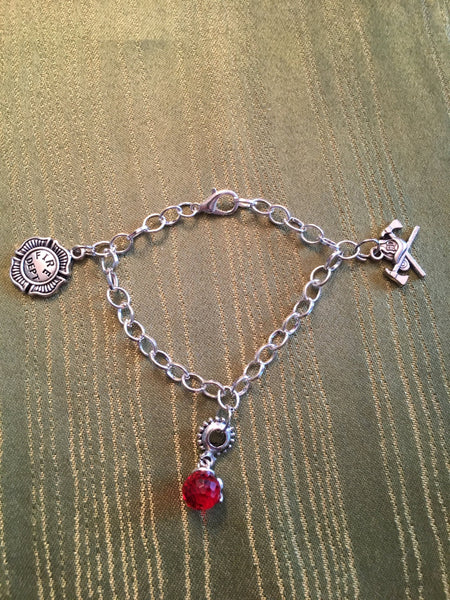 Women Firefighter Charm Bracelet Adjustable Sizes