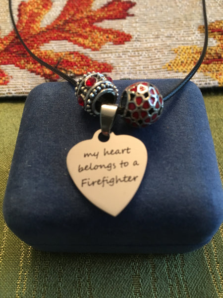 Firefighter's Wife Necklace with 2 Red Crystal Beads & Heart Charm-My heart belongs to a Firefighter