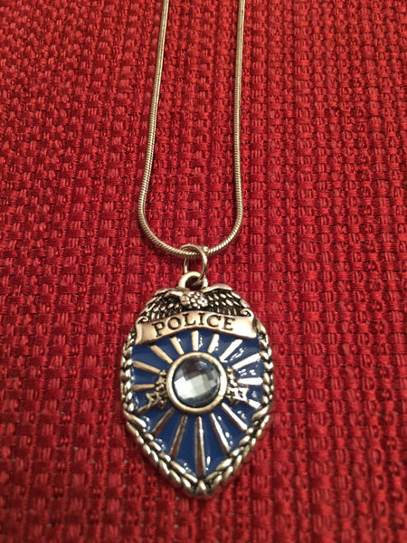 Police Officer Jewelry Blue Charm on Silver Snake Chain