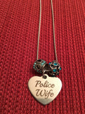 Police Wife Necklace Silver Colored Charm on Silver Snake Chain with Blue Crystal Beads