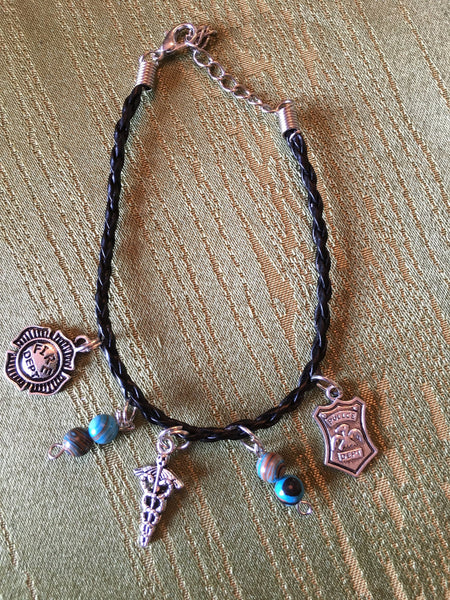 First Responders Black Leather Braided Bracelet with 3 Silver Colored Charms & 2 Beaded Charms