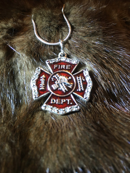 Fire Fighter Charm Necklace Snake Chain, Rhinestone Charm With Magnificent Red Color