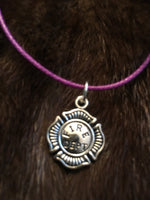 Firefighter Necklace on Pinkish-Purple Cord Silver Colored Charm Fire Dept. Badge