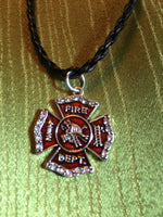 Firefighter Charm Bracelets on Black Braided Leather Magnificent Red Color with Rhinestones