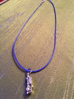 Fire Engine Charm Necklace on Blue Adjustable Cord