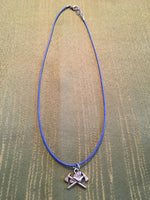 Firefighter Charm Necklace on Adjustable Blue Cord 17-19 inches