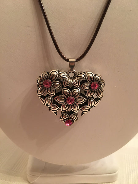 Valentine's Day Heart Necklaces Chose a color Pink or Aqua Corded Rope Adjustable Size