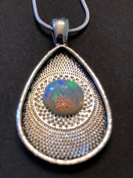 Silver Snake Chain with Amazing Colored Opal Stone