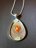 Fire Opal Silver Necklace Stamped 925