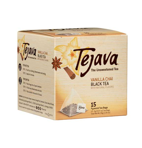 Tejava Vanilla Chai Tea Bags Box of 15 Pyramid bags