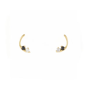Stardust Arc Studs / Black and White Diamonds