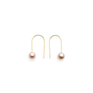 Pink Pearl Drop Earrings / 14ky gold