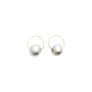 Gray Pearl Drop Hoop Earrings