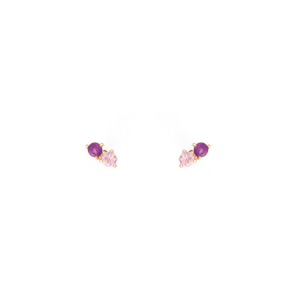 Stardust Studs / Pink and Purple Amethysts