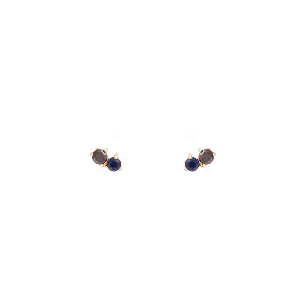Stardust Studs / Black Diamonds and Sapphire