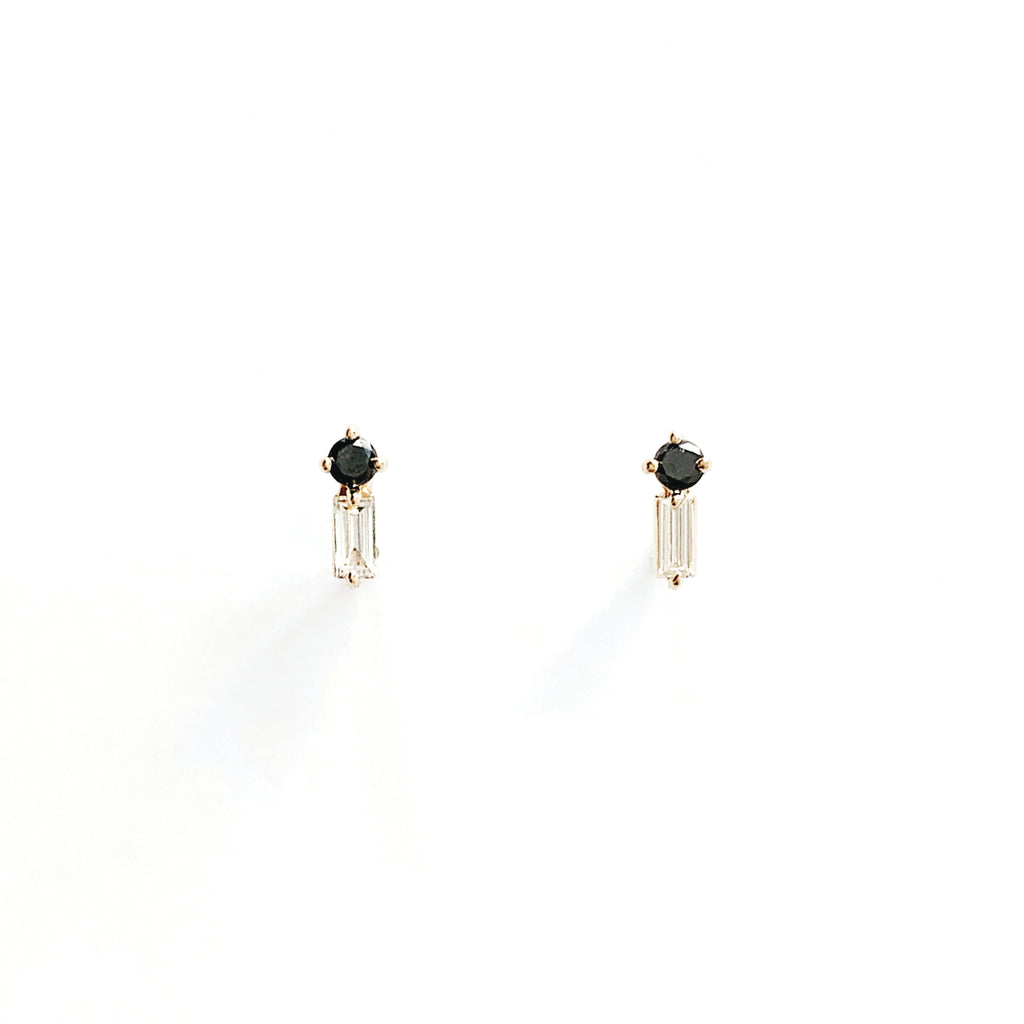 Duo Stone Studs / Black and White Diamonds