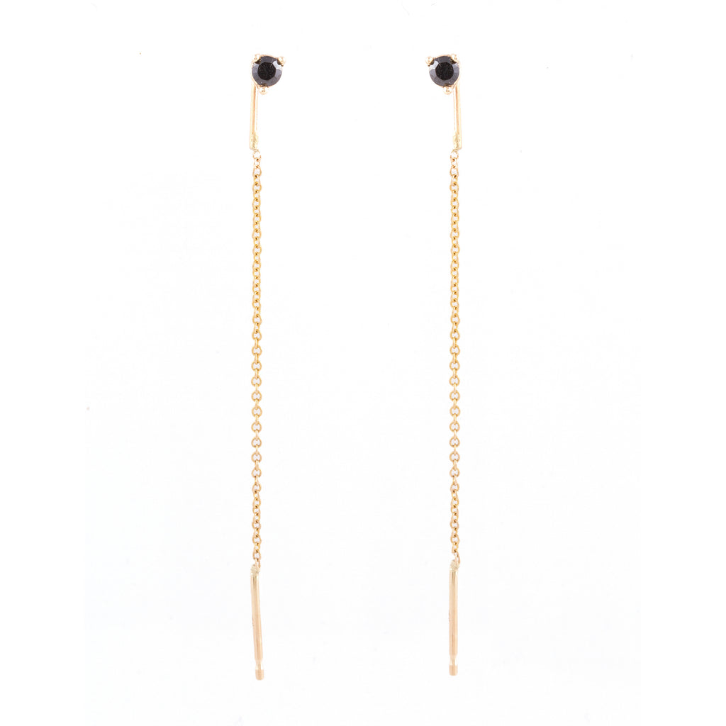 Black Diamond Threader Earrings