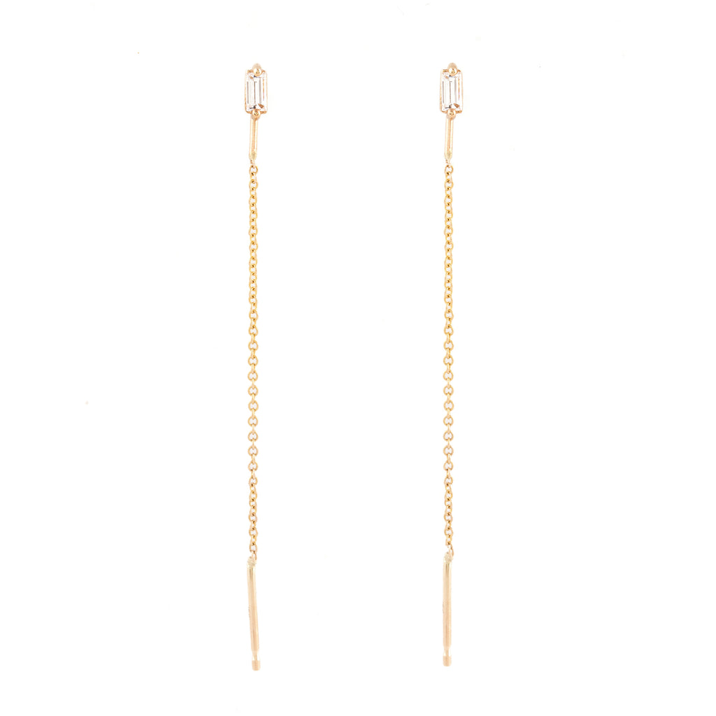Baguette Diamond Threader Earrings