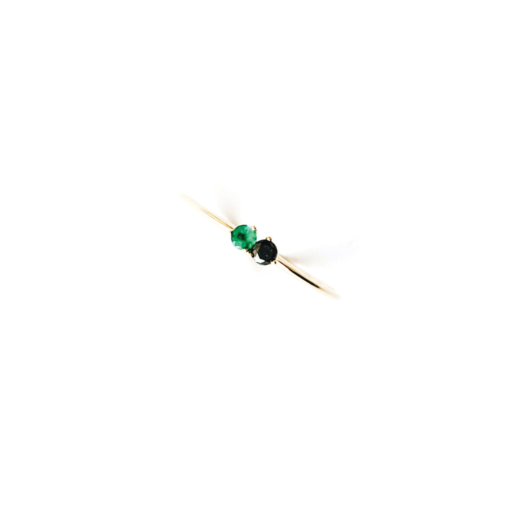 Stardust Ring / Black Diamond and Emerald