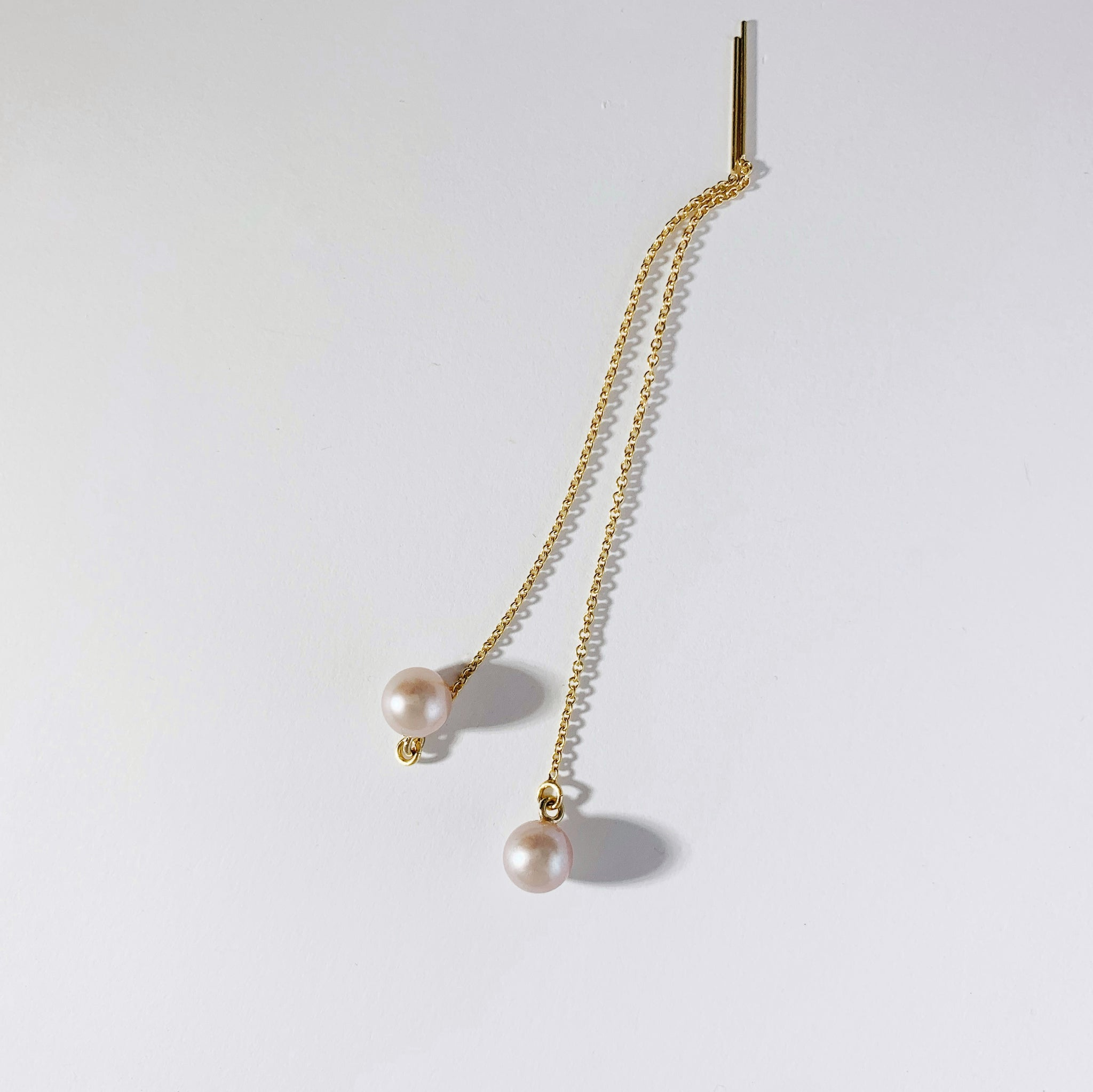 Pink Pearl Drop Chain Threaders