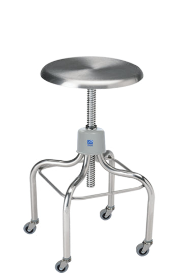 Pedigo Adjustable Stainless Steel Stool with Stainless Steel Contoured Seat - Alternative Source Medical