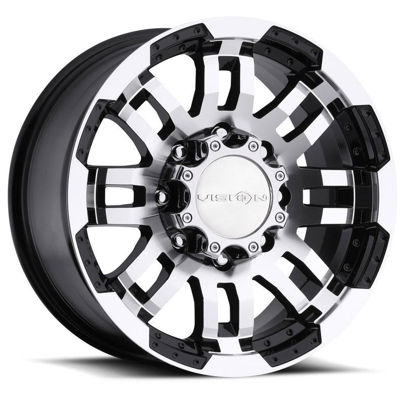 VISION WARRIOR 17X8.5+25 5X5 BLACK AND MACHINED 372H7873GBMFF25
