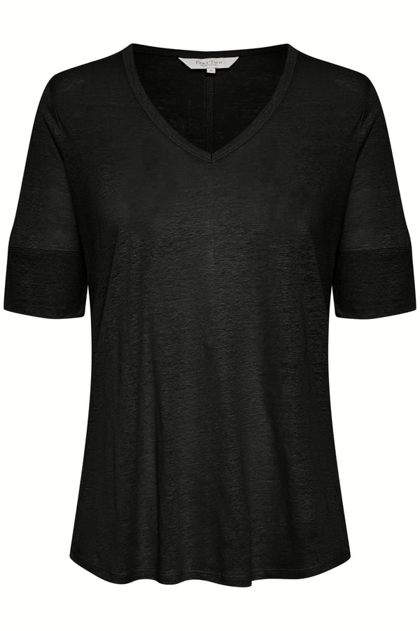 PART TWO LINEN TEE (BLACK)