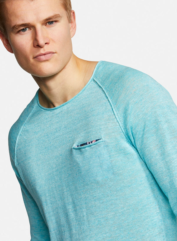 COLOURS & SONS LINEN TOM KNIT (AQUA)