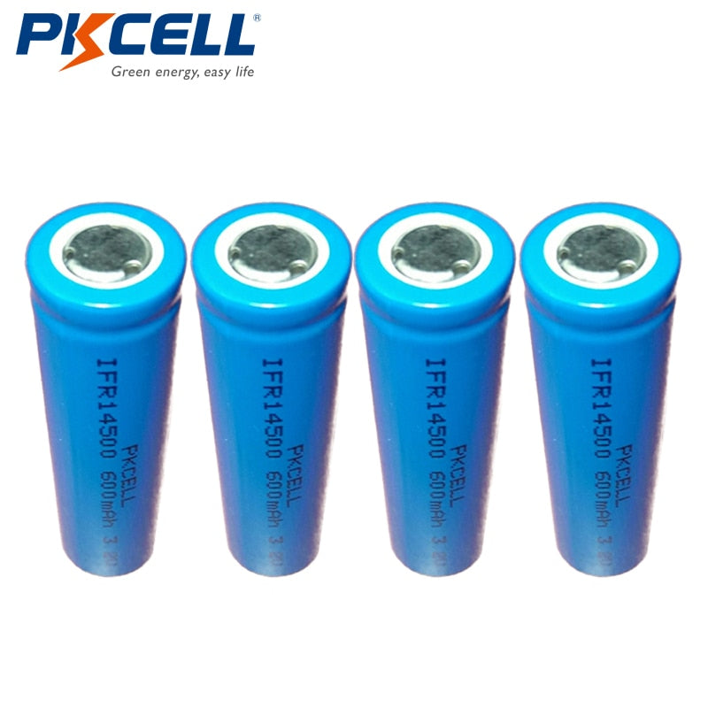 PKCELL Lifepo4 3.2V 14500 Rechargeable Lithium ion Battery Cell AA SIZE 600MAH IFR14500 for Solar Led Light