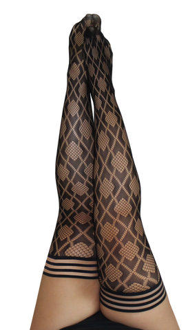 Kixies Diamond Fishnet Thigh-High Stockings